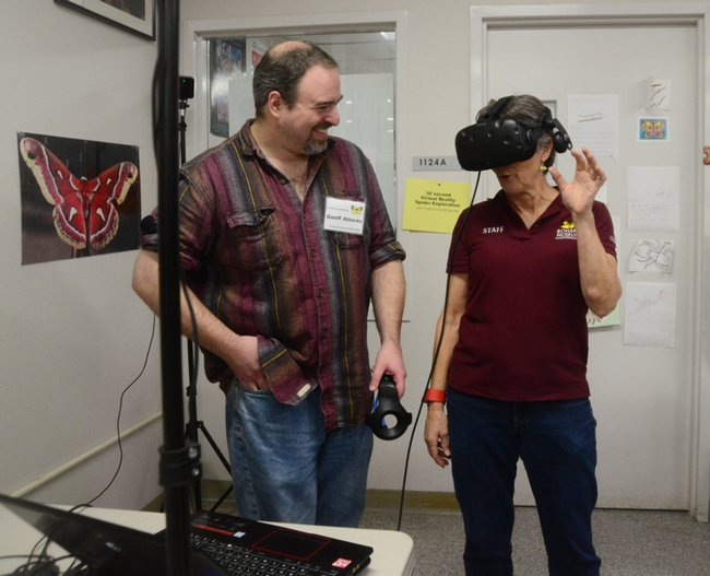 Lynn Kimsey, director of the Bohart Museum of Entomology, experiences Virtual Reality with spiders.