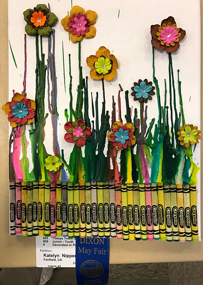 Just add pollinators! Katelyn Nipper of Fairfield created this innovative illustration of brightly color flowers and crayons.