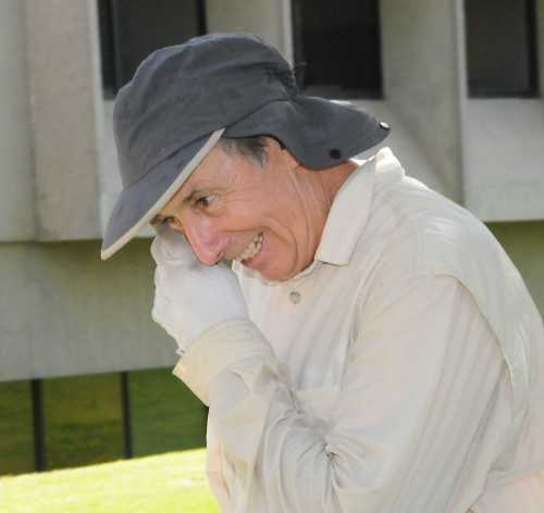 Bruce Hammock wipes water from his face. (Photo by Kathy Keatley Garvey)