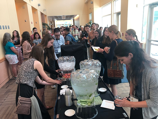 It's break time in the ARC Ballroom, UC Davis, for the attendees at the International Pollinator Conference. (Photo by Kathy Keatley Garvey)