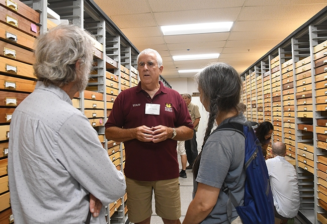 Lepitoptera curator Jeff Smith chats with visitors at last year's Moth Night at the Bohart Museum of Entomology. (Photo by Kathy Keatley Garvey)