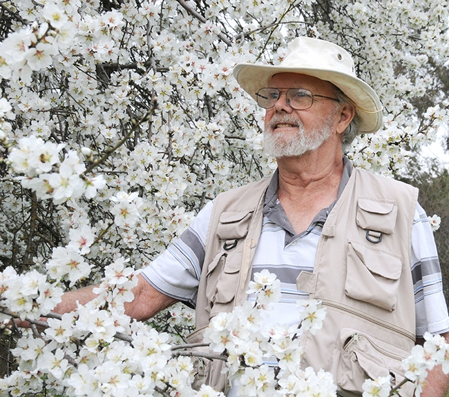 This was Robbin Thorp's favorite photo. He's standing by an almond tree on Bee Biology Road, UC Davis campus. This image was taken in February 2010. (Photo by Kathy Keatley Garvey)