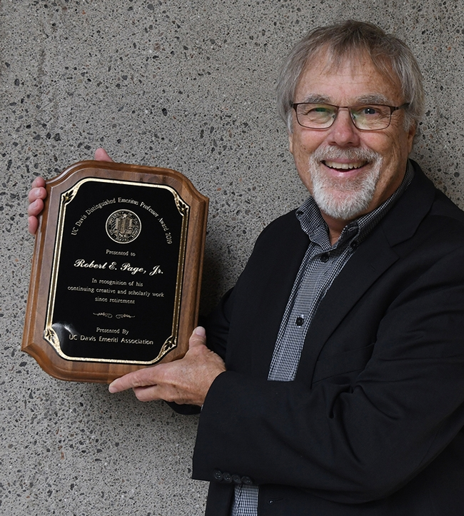Internationally recognized honey bee geneticist Robert E. Page Jr., recipient of the 2019 UC Davis Distinguished Emeritus Award. (Photo by Kathy Keatley Garvey)