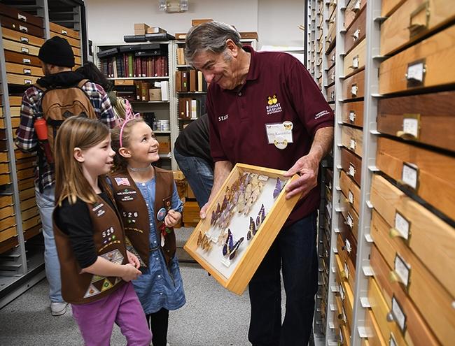 Brownie Girl Scout Troop 5520 members Lauren Wells (front),7, and Madeline Louis, 8, both of West Sacramento, look at a drawer of  butterflies held by Bohart associate Greg Kareofelas. (Photo by Kathy Keatley Garvey)