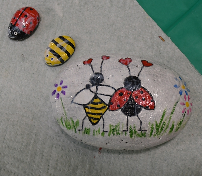These rocks at the Bohart Museum of Entomology depict favorite insects: honey bees and ladybugs (lady beetles.) The larger rock, inspired by Valentine's Day, is titled