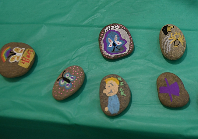 Some of the rocks painted during the Bohart Museum of Entomology's open house. (Photo by Kathy Keatley Garvey)