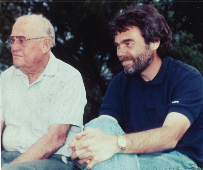 Harry H. Laidlaw Jr., (left) father of honey bee genetics, with graduate student and later colleague Robert E. Page Jr.