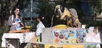 A six-foot-long worker bee, the work of self-described