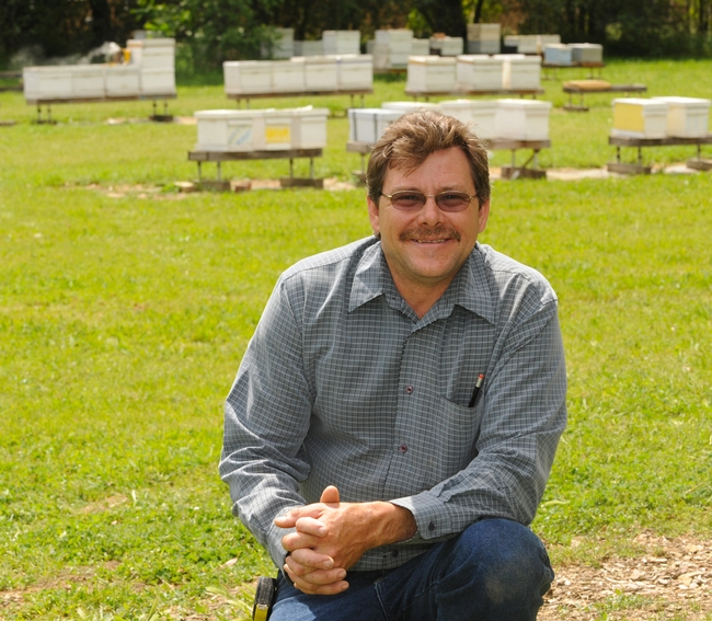 Brian Fishback at the Harry H.Laidlaw Jr. Honey Bee Research Facility. (Photo by Kathy Keatley Garvey)