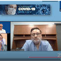 A screen shot of Riverside pulmonary specialist Anoop Maheshwari, relating his story about his near-death experience as a COVID-19 patient. In the background is organizer-moderator Walter Leal, UC Davis distinguished professor.