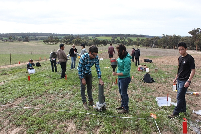 Food ought to be incorporated in every school curriculum, says Christian Nansen. Here his former students at the University of Western Australia, Preth, learn about designing and installing a garden. (Photo by Christian Nansen)