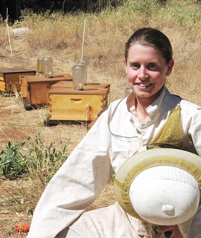 Michelle Flenniken at an apiary. (Photo by Kim Fondrk)