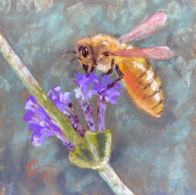 Lisa Rico's painting of a honey bee  nectaring on lavender is based on a photo by Kathy Keatley Garvey.
