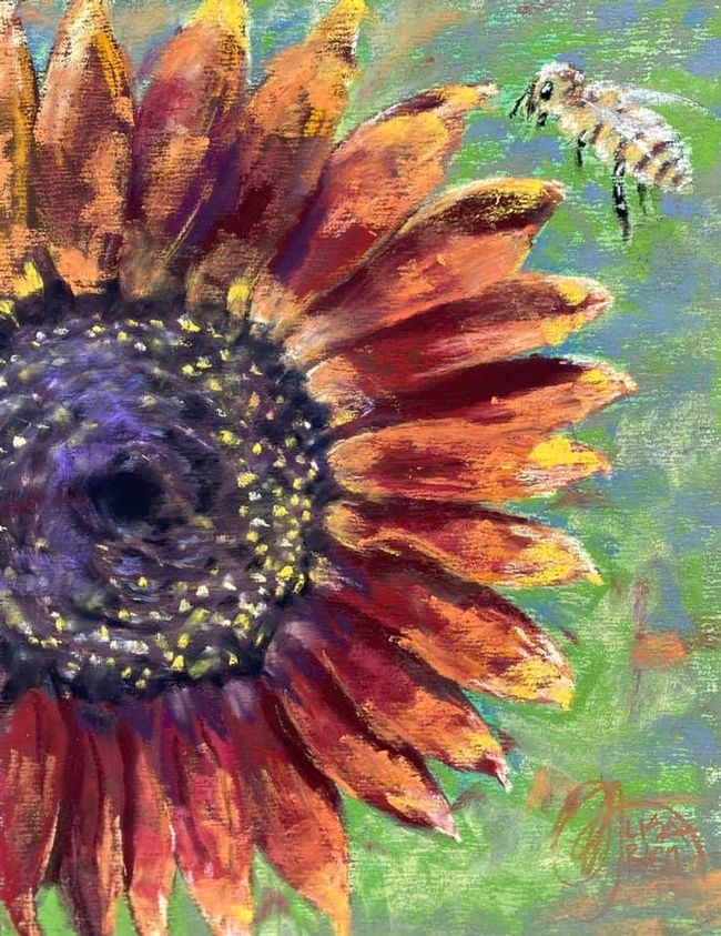 A honey bee buzzes over a sunflower in this painting,