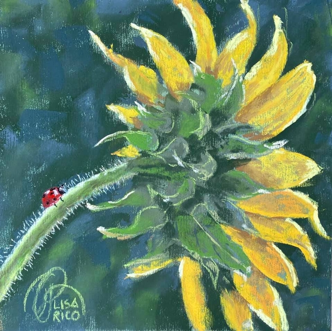 A lady beetle, aka ladybug, climbs the stalk of a sunflower in this painting by Lisa Rico, founder of the Vacaville Fire Art Project. It's titled