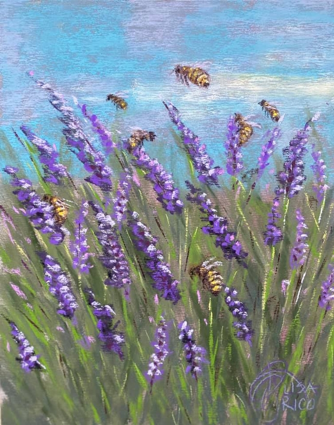 Honey bees forage in a field of lavender in this painting, titled