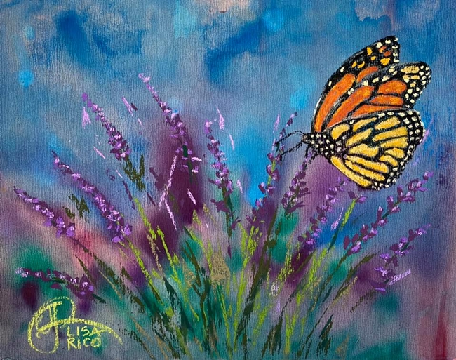 A monarch butterfly flutters through a field of lavender. Painting by Lisa Rico. This one is titled