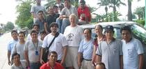UC Davis medical entomologist Thomas Scott (center) and his field site director Amy Morrison with their mosquito collector and data management teams in Iquitos, Peru. (Photo courtesy of Thomas Scott lab) for Bug Squad Blog
