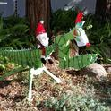 Giddy-up! Santa, being the jolly ol' gent he is, drives The Red-Nosed Mantis in front of the Davis home of entomologists Robert and Lynn Kimsey of the UC Davis Department of Entomology and Nematology. (Photo by Lynn Kimsey)