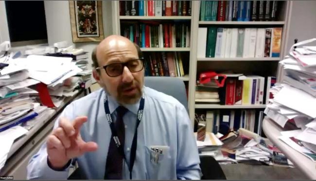 Vaccine specialist Dr. Stuart Cohen of UC Davis Health responding to questions.