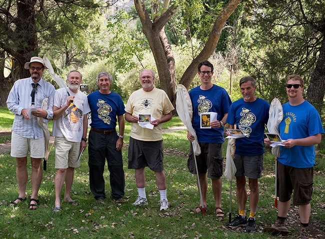 The Bee Course instructors in 2013 included (from left) Laurence Packer, York University, Toronto; Terry Griswold, USDA Bee Lab, Logan, Utah; Steve Buchmann, Tucson, Ariz.; Robbin Thorp, UC Davis, John Ascher, University of Singapore; Jim Cane, USDA Bee Lab, Logan, Utah; and Eli Wyman, American Museum of Natural History, N.Y. Not pictured course leader Jerome Rozen, American Museum of Natural History. (Photo courtesy of The Bee Course)