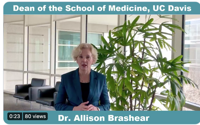 In her video, Dr. Allison Brashear, dean of the UC Davis School of Medicine, addresses the COVID-19 pandemic and vaccines. (Screen shot)