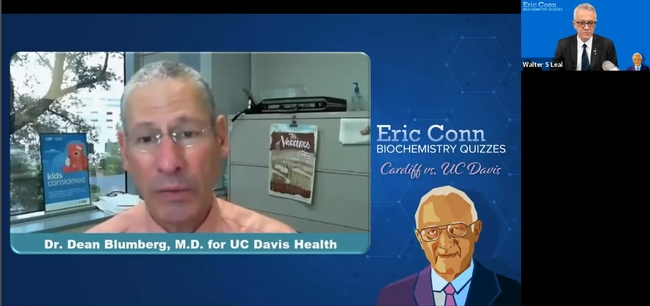 Dr. Dean Blumberg of UC Davis Health fields questions on COVID-19 vaccines. (Screen shot)