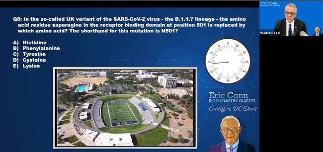 Shown on the screen, while the clock is ticking off the time allocated: an overview of the UC Davis campus. The answer to the question: Tyrosine. (Screen shot)
