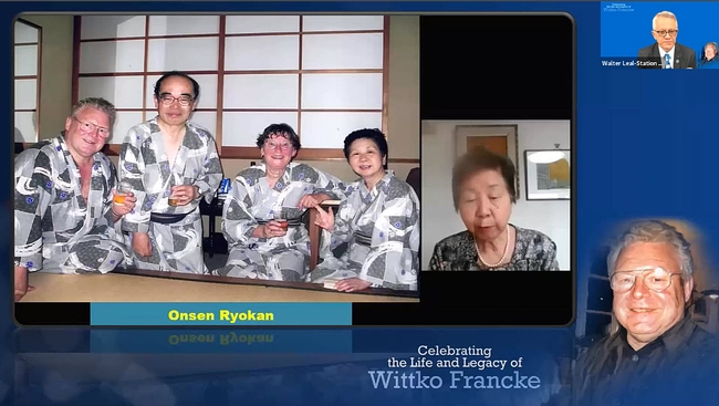 Gathering in the hotel Onsen Ryokan (from left) the late Wittko Francke, the late Professor Kenji Moro of Tokyo University, Francke's widow, Heidi; and Mori's widow, Keiko. Kenji Mori was another giant in chemical ecology who passed away April 16, 2019. (Screenshot from April 3rd celebration of Life and Legacy of Wittko Francke)
