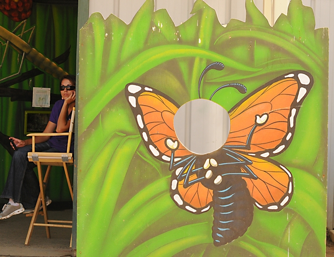 Monarch butterfly cutout in front of the Insect Pavilion at the Caifornia State Fair. (Photo by Kathy Keatley Garvey)