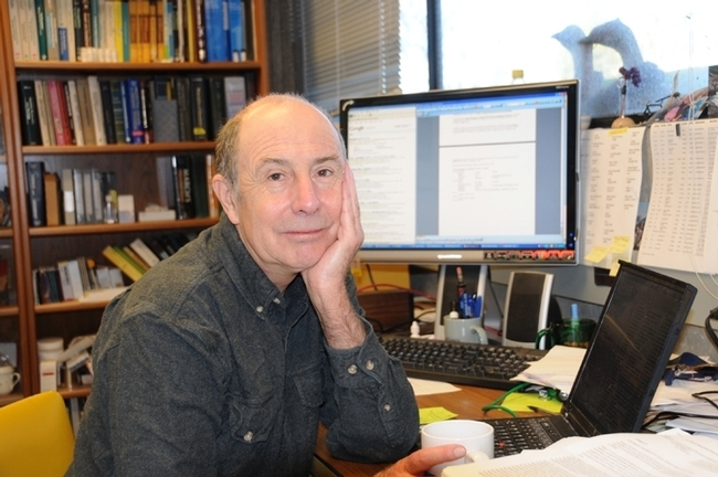 UC Davis distinguished professor Bruce Hammock in his Briggs Hall office. (Photo by Kathy Keatley Garvey)