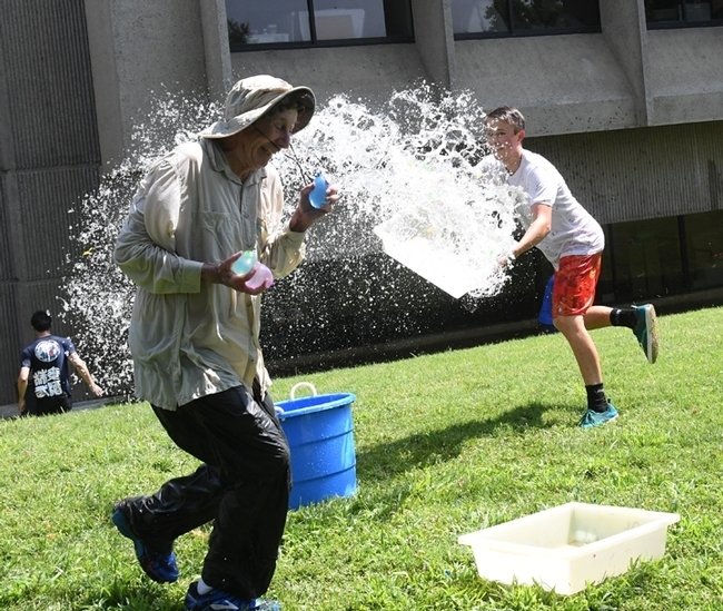 Gotcha! UC Davis distinguished professor Bruce Hammock gets doused at a water balloon battle. (Photo by Kathy Keatley Garvey)