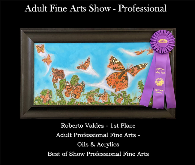 This painting in the oils and acrylics category, won best of show in professional fine arts at the 2021 Dixon May Fair. It is the work of Robert Valdez.