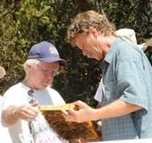 Beekeepers Bill Cervenka (left) of Half Moon Bay and Randy Oliver of Grass Valley check out a frame in Healdsburg during a bee conference.. (Photo by Kathy Keatley Garvey)