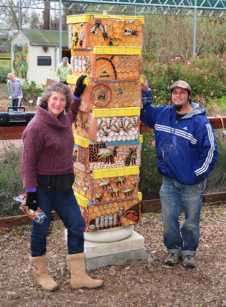 UC Davis entomology professor-artist Diane Ullman with professional ceramic mosaic artist Mark Rivera (1971-2021) at the Häagen-Dazs Honey Bee Haven. (Photo by Kathy Keatley Garvey)