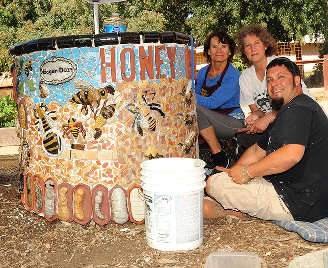 Artists installing the 2013 projects in the Häagen-Dazs Honey Bee Haven on Bee Biology Road pause for a photo. From left are Donna Billick, Diane Ullman and Mark Rivera. (Photo by Kathy Keatley Garvey)