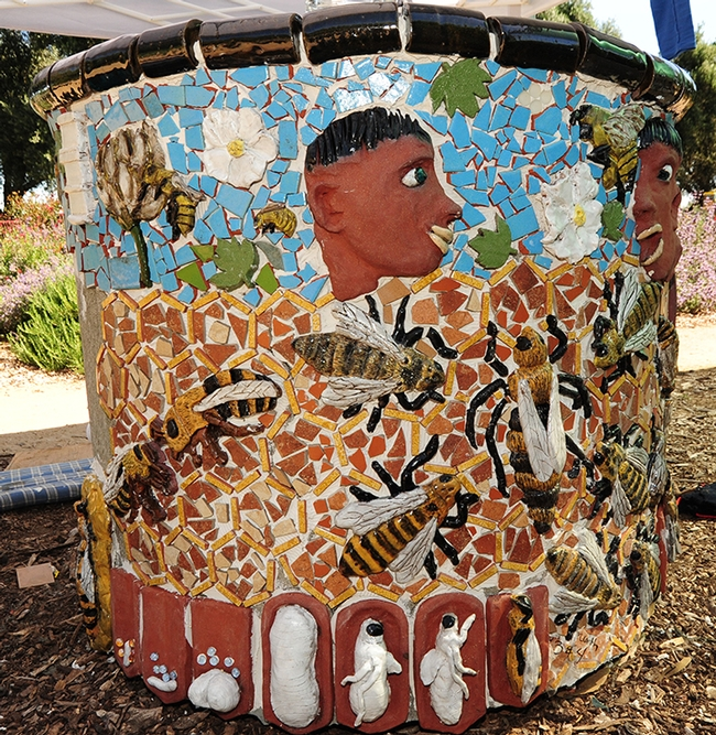 Newly installed art at the UC Davis Department of Entomology and Nematology bee garden in May of 2013. (Photo by Kathy Keatley Garvey)