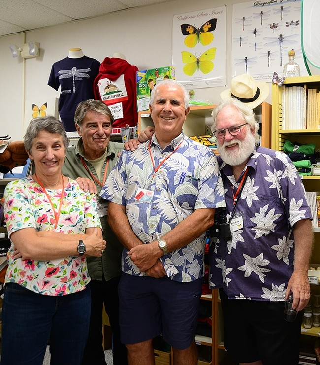Robert Michael Pyle (far right) at the Bohart Museum of Entomology. From left are Lynn Kimsey, director of the Bohart Museum and UC Davis distinguished professor of entomology; Bohart associate Greg Kareofelas and entomologist Jeff Smith, curator of the lepidoptera collection. (Photo by Kathy Keatley Garvey)