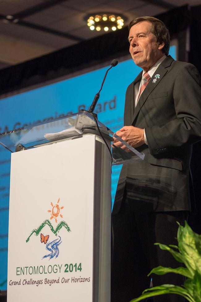 Frank Zalom, the 2014 ESA president, addresses the crowd. (ESA Photo)