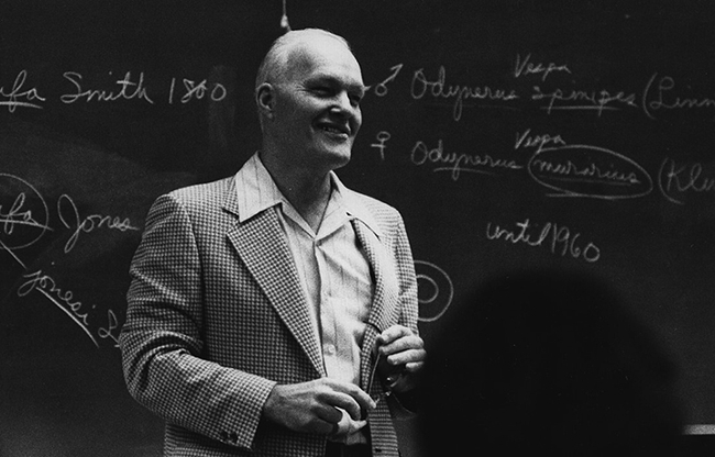 The Bohart Museum is named for noted entomologist and UC Davis professor Richard Bohart (1913-2007),  shown here in the classroom. (Bohart Museum archived photo)