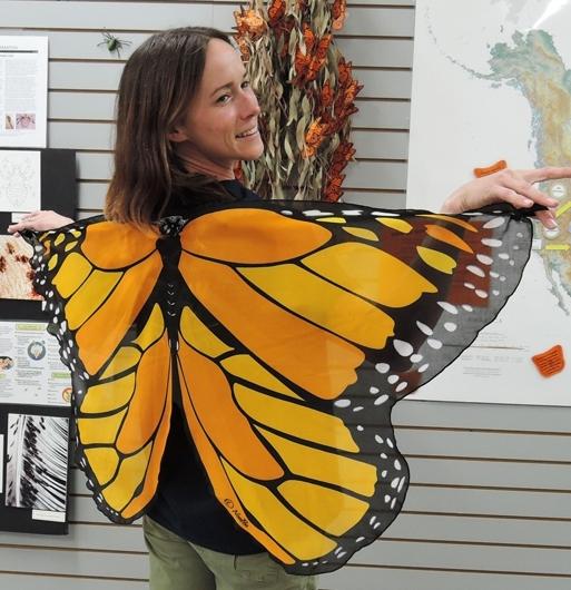 Bohart Museum associate Christine Melvin as a monarch butterfly