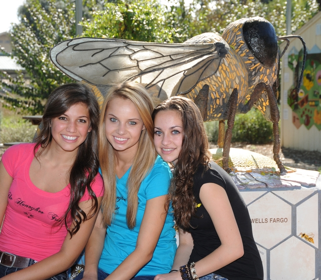 Honeybee Trio is comprised of (from left) Karli Bosler, 16; Natalie Angst, 16, and Sarah McElwain, 15. In back is Donna Billick's bee sculpture. (Photo by Kathy Keatley Garvey)