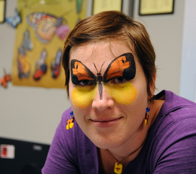 UC Davis graduate student Emily Bzdyk came dressed as a butterfly. She creates insect jewelry sold at the Bohart. (Photo by Kathy Keatley Garvey)