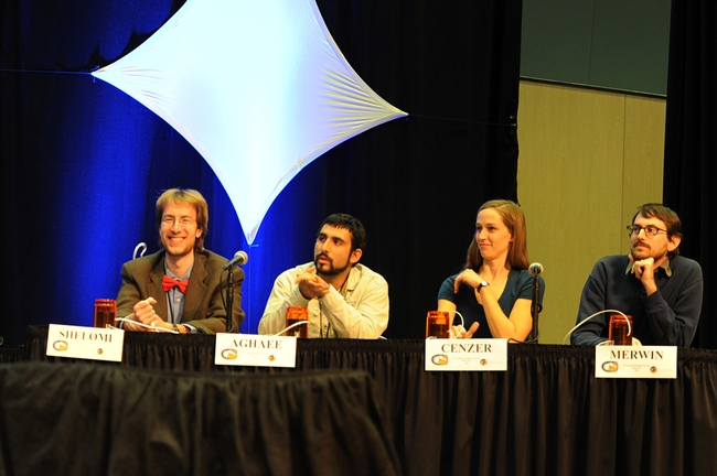 UC Davis team of  Matan Shelomi, Mohammad-Amir Aghaee, Meredith Cenzer and Andrew Merwin competed in the semi-finals. (Photo by Kathy Keatley Garvey)