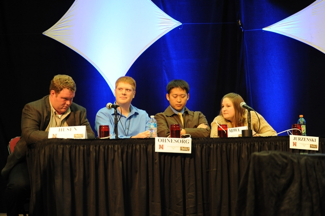 Tim Husen, Wayne Ohnesorg, Ken Miwa,  and Jess Jurzenski of the University of Nebraska pondering a question. They went on to win the championship. (Photo by Kathy Keatley Garvey)