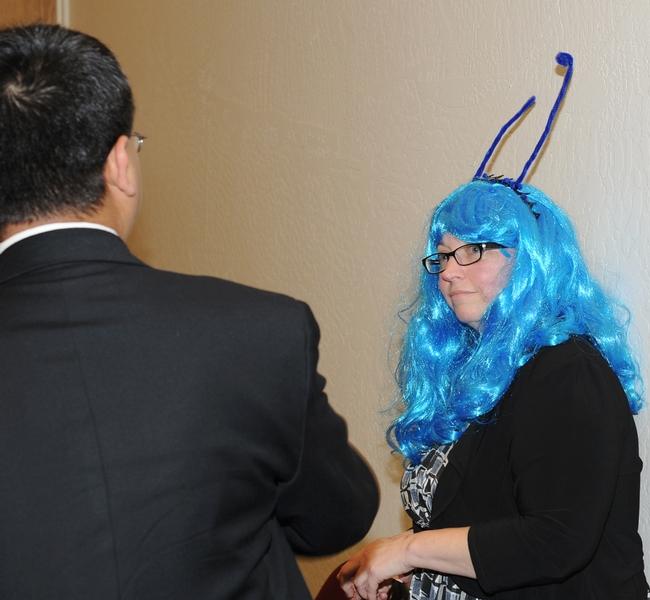 Bug Girl talks with Ayanava Majumdar, Auburn University, Alabama. (Photo by Kathy Keatley Garvey)