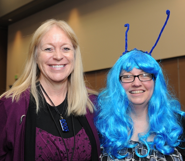 Bug Girl poses with Robin Rosetta, associate professor of Oregon State University who blogs about bugs. Rosetta received two  UC Davis degrees in entomology. (Photo by Kathy Keatley Garvey)