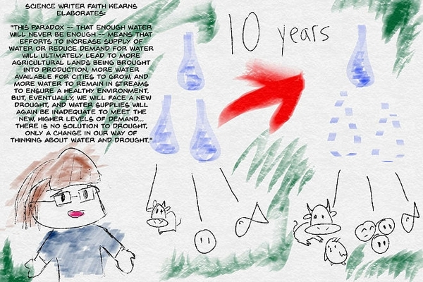 Scientist and writer Faith Kearns on never having enough water in California. Artwork by B. Hihara