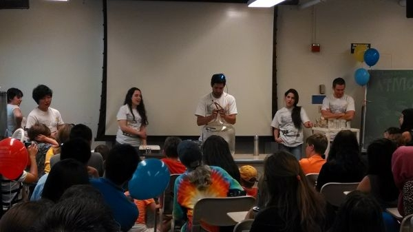 UC Davis students demonstrate principles from atmospheric science to an appreciative audience of students and their parents. Courtesy of UC Davis.