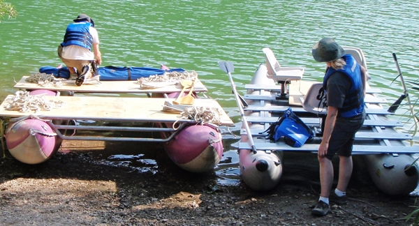 Preparing to sample sediments in Zaca Lake. Photo by Matthew Kirby.